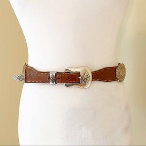 Vintage 1992 Justin Brown Silver Leather Belt - 28